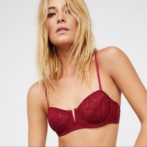 NWOT Free People Crochet V Wire Bra Red size 34A